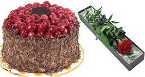 1 adet yas pasta ve 1 adet kutu gül  Bursa çiçekçi mağazası