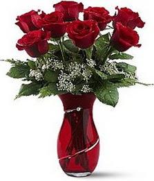 Vazo içinde 8 adet kirmizilar içinde güller  Bursa çiçekçi telefonları