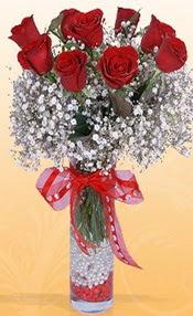 9 adet kirmizi gül cam yada mika vazoda  Bursa online çiçek gönderme sipariş