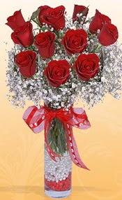 10 adet kirmizi gülden vazo tanzimi  Bursa çiçek gönderme sitemiz güvenlidir