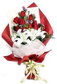 Bursa çiçek yolla , çiçek gönder , çiçekçi   9 adet gül 2 adet kazablanka buketi