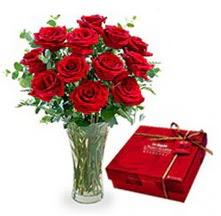 Bursa İnternetten çiçek siparişi  10 adet cam yada mika vazoda gül çikolata