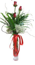 Bursa çiçek gönderme sitemiz güvenlidir  3 adet kirmizi gül vazo içerisinde