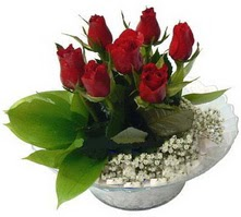 Bursa çiçek yolla  cam yada mika içerisinde 5 adet kirmizi gül