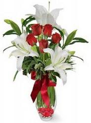 Bursa çiçek satışı  5 adet kirmizi gül ve 3 kandil kazablanka