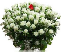 Bursa çiçek yolla  100 adet beyaz 1 adet kirmizi gül buketi