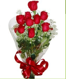 Bursa çiçekçi mağazası  10 adet kırmızı gülden görsel buket