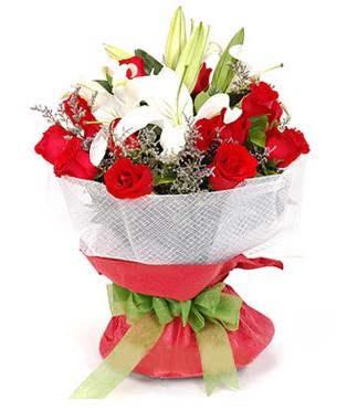 Bursa çiçek yolla , çiçek gönder , çiçekçi   1 dal kazablanka 11 adet kırmızı gül buketi