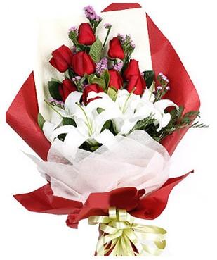 Bursa çiçek gönderme  1 dal kazablankaa 9 adet kırmızı gül buketi