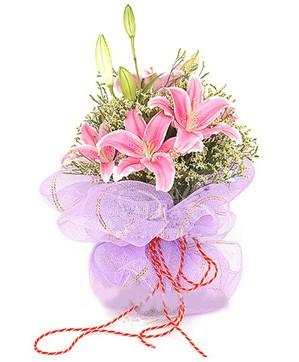 3 dal kazablanka görsel buketi  Bursa çiçek yolla