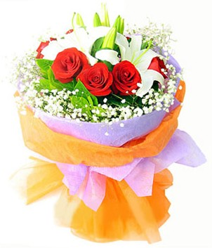 Bursa çiçek online çiçek siparişi  1 dal kazablanka 7 adet kırmızı gül buketi