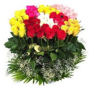 Bursa online çiçek gönderme sipariş  51 adet renkli güllerden aranjman tanzimi