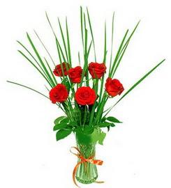 Bursa yurtiçi ve yurtdışı çiçek siparişi  6 adet kırmızı güllerden vazo çiçeği