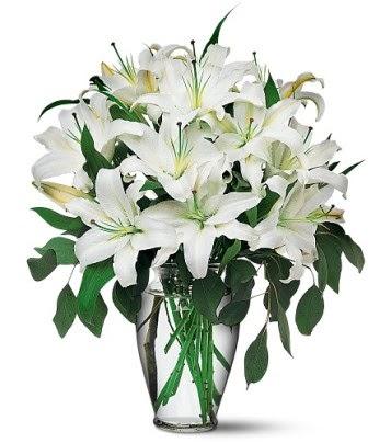 Bursa çiçek yolla  4 dal kazablanka ile görsel vazo tanzimi
