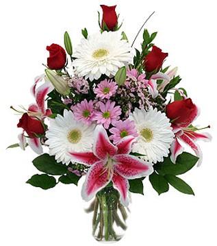 Bursa online çiçek gönderme sipariş  1 dal kazablanka 5 gül ve kırçiçeği vazosu