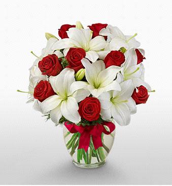 Bursa çiçek yolla , çiçek gönder , çiçekçi   1 dal kazablanka 11 adet kırmızı gül vazosu