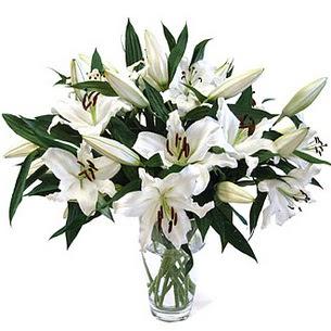 Bursa kaliteli taze ve ucuz çiçekler  3 dal görsel casablanca vazo tanzimi