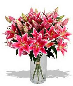 4 dal cazablanca görsel vazosu  Bursa İnternetten çiçek siparişi