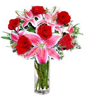 Bursa çiçek servisi , çiçekçi adresleri  1 dal cazablanca ve 6 kırmızı gül çiçeği