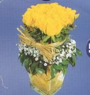 Bursa internetten çiçek satışı  Cam vazoda 9 Sari gül