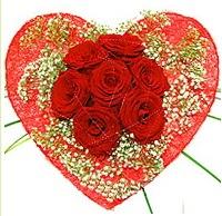 Mika kalp içerisinde 7 adet kırmızı gül  Bursa İnternetten çiçek siparişi