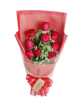 9 adet kırmızı gülden görsel buket  Bursa online çiçekçi , çiçek siparişi