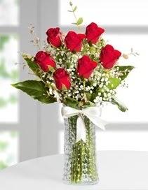 Cam vazoda 7 adet kırmızı gül  Bursa yurtiçi ve yurtdışı çiçek siparişi