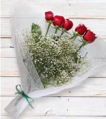 5 kırmızı gülden sade buket  Bursa çiçek servisi , çiçekçi adresleri