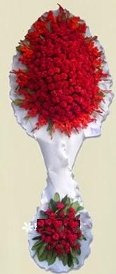Çift katlı kıpkırmızı düğün açılış çiçeği  Bursa internetten çiçek satışı