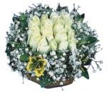 Bursa çiçek gönderme  Beyaz harika bir gül sepeti