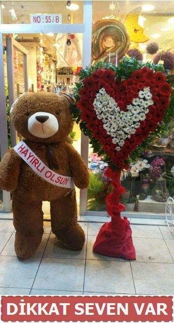 1.5 Metre peluş ayı ve Kalp  Bursa çiçek online çiçek siparişi