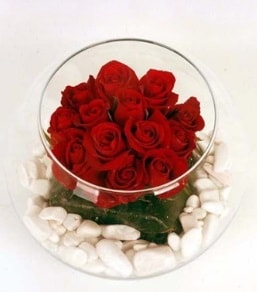 Cam fanusta 11 adet kırmızı gül  Bursa çiçek mağazası , çiçekçi adresleri