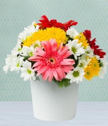 Seramik Vazoda Gelbera ve Papatya  Bursa çiçek mağazası , çiçekçi adresleri