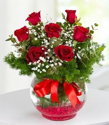 fanus Vazoda 7 Gül  Bursa yurtiçi ve yurtdışı çiçek siparişi