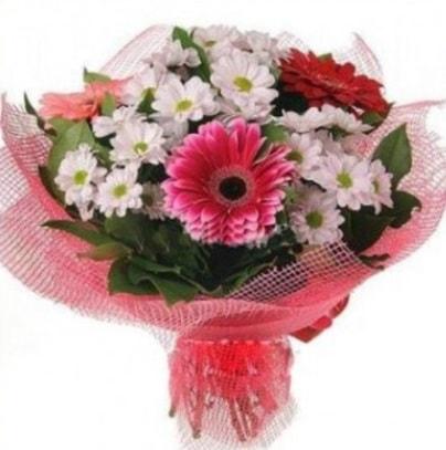 Gerbera ve kır çiçekleri buketi  Bursa çiçekçi telefonları