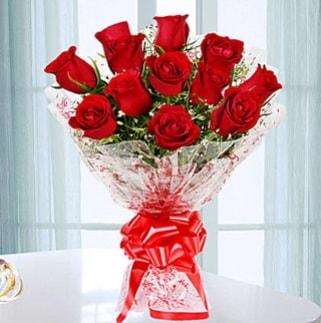 11 adet kırmızı gülden görsel şık buket  Bursa online çiçekçi , çiçek siparişi