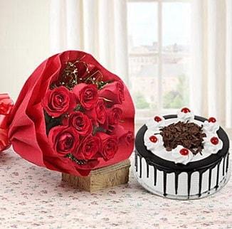 12 adet kırmızı gül 4 kişilik yaş pasta  Bursa yurtiçi ve yurtdışı çiçek siparişi