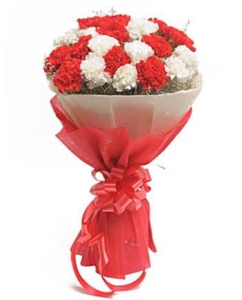 21 adet kırmızı beyaz karanfil buketi  Bursa güvenli kaliteli hızlı çiçek