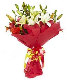 5 dal kazanlanka lilyum buketi  Bursa çiçek online çiçek siparişi