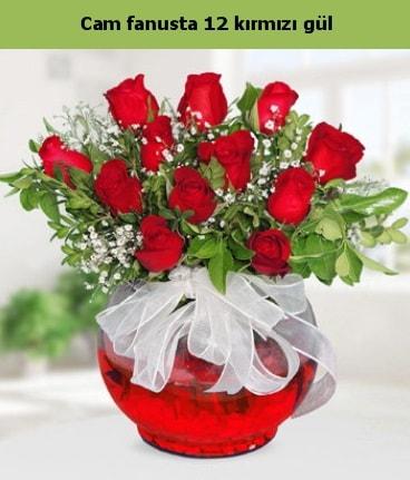 Cam içerisinde 12 adet kırmızı gül  Bursa çiçek yolla