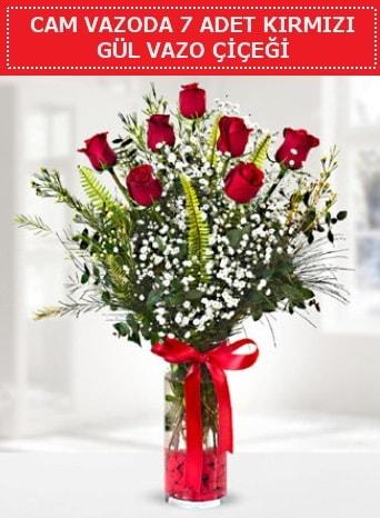 Cam vazoda 7 adet kırmızı gül çiçeği  Bursa çiçek online çiçek siparişi