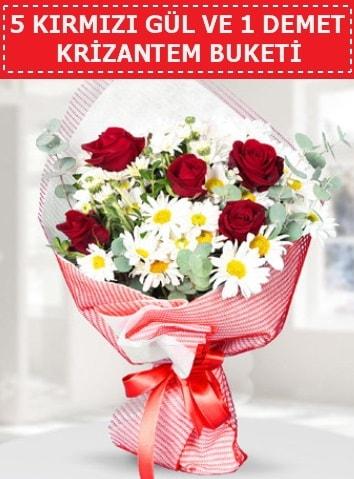 5 adet kırmızı gül ve krizantem buketi  Bursa güvenli kaliteli hızlı çiçek