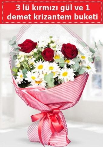 3 adet kırmızı gül ve krizantem buketi  Bursa çiçek online çiçek siparişi