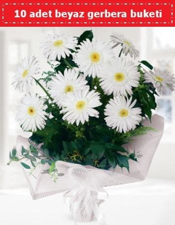 10 Adet beyaz gerbera buketi  Bursa yurtiçi ve yurtdışı çiçek siparişi