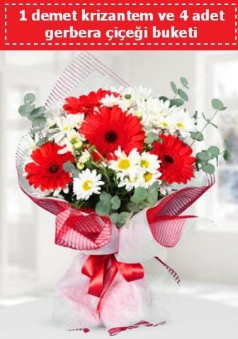Krizantem ve Gerbera Buketi  Bursa çiçek gönderme sitemiz güvenlidir