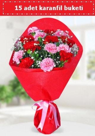 15 adet karanfilden hazırlanmış buket  Bursa hediye çiçek yolla